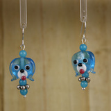 Bamboo Center View - Blue Glass Dog Head on Silver Plate Earwires (1441L)