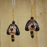 Bamboo Center View - Tan and Black Glass Dog Head on Gold Plate Earwires (1441C)
