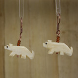 Bamboo Center View - Bone Wolf or Dog on Copper Earwires (1415)