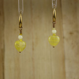 Bamboo Center View - Yellow Glass Hearts on Gold Plate Earwires (0739)