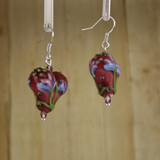 Bamboo Center View - Puffed Glass Hearts on Silver Plate Ear-wires (1408)