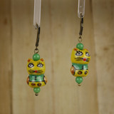 Bamboo Center View - Cat #1 on Antique Gold Earwires (1402)
