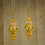 Bamboo Center View - Cat #2 on Gold Plate Earwires (1400)