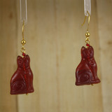 Bamboo Center View - Brown Sitting Cats on Gold Plate Earwires (1427)