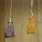 Bamboo Center View - Gray and Yellow Sitting Cats on Silver Plate Earwires (1426)