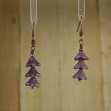 Bamboo Center View - Purple Glass Flower Spike on Antique Copper Earwires (0343)