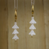Bamboo Center View - White Glass Flower Spike on Gold Plate Earwires (0334)