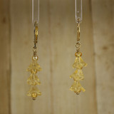 Bamboo Center View - Yellow Glass Flower Spike on Gold Plate Earwires (0358)