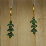 Bamboo Center View - Green Glass Flower Spike on Gold Plate Earwires (0353)