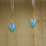 Bamboo Center View - Light Blue Glass Rosebuds on Gold Plate Earwires (1436A)
