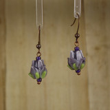 Bamboo Center View - Purple Glass Rosebuds on Antique Copper Earwires (1436C)
