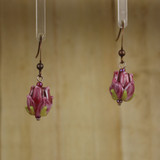 Bamboo Center View - Red Glass Rosebuds on Antique Copper Earwires (1436D)