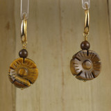 Bamboo Center View - Tiger's Eye Flower on Gold Plate Earwires (1075)