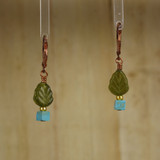 Bamboo Center View - Glass Tree and Turquoise base on Copper Earrings (0355)