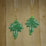 Bamboo Center View - Porcelain Palm Tree on Gold Plate Earrings (1404)