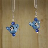 Bamboo Center View - Porcelain Watering Can on Silver Plate Earrings (1403)