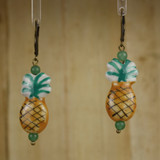 Bamboo Center View - Porcelain Pineapple on Antique Gold Earrings (1401)
