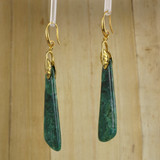 Bamboo Right View - Azurite Malachite Drops on Gold Plate Earwires (1043)