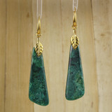 Bamboo Center View - Azurite Malachite Drops on Gold Plate Earwires (1043)