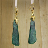 Bamboo Left View - Azurite Malachite Drops on Gold Plate Earwires (1043)