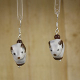 Bamboo Center View - Porcelain Ram on Silver Plate Earrings (1397)