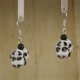 Bamboo Center View - Porcelain Cow on Silver Plate Earrings (1398)