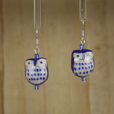 Bamboo Center View - Porcelain Butterfly on Gold Plate Earrings (1407)