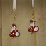 Bamboo Center View - Porcelain Foxes on Gold Plate Earrings (1405)
