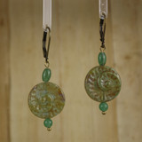 Bamboo Center View - Glass Nautilus on Antique Gold Earwires (1422)