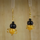 Bamboo Center View - Glass Honey-Bee on Gold Plate Earwires (1410)