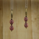 Bamboo Center View - Lady Bugs on Antique Gold Earwires (1425)
