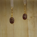 Bamboo Center View - Small Brown Glass Scarab on Gold Plate Earwires (0331)