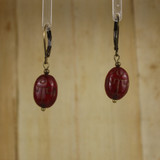 Bamboo Center View -Large Red Glass Scarab on Antique Gold Earwires (1434)
