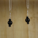 Bamboo Center View - Black Agate Rounds #1 on Silver Plate Earwires (1341)