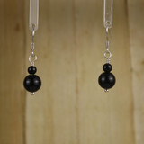 Bamboo Center View - Black Agate Rounds #2 on Silver Plate Earwires (1340)
