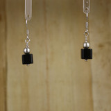 Bamboo Center View -Black Agate Cube #2 on Silver Plate Earwires (1145)