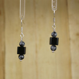 Bamboo Center View - Black Agate Cube #1 on Silver Plate Earwires (1149)