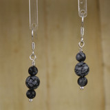 Bamboo Center View - Snowflake Obsidian rounds on Silver Plate Earwires (1171)