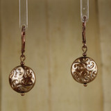 Bamboo Center View - Hollow Glass Etched Lentil on Copper Earwires (1416)