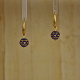 Bamboo Center View - Dark Cobalt Glass Etched on Gold Plate Earwires (1424)