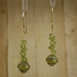 Bamboo Center View - Peridot and Czech Glass on Gold Plate (1344)