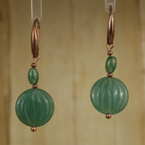 Bamboo Center View - Aventurine Coin on Antique Copper Earwires (1428)
