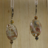 Bamboo Center View -Rhyolite Twist on Antique Gold Earwires (1442)