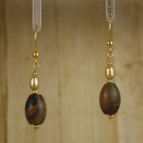 Bamboo Center View - Stone Barrel and Pearl on Gold Earwires (1414)