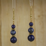 Bamboo Center View - Lapis Lazuli Rounds on Gold Plate Earwires (0235)