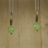 Bamboo Center View - Chrysoprase on Antique Gold Earwires (1417)