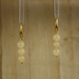 Bamboo Center View - Earrings -Yellow Jade on Gold Plate Earwires (1431)