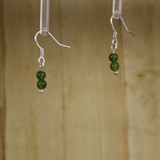 Bamboo Left View - Green Jade on Silver Plate Earwires (1429)