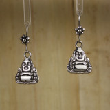 Bamboo Center View - Pewter Buddha on Silver Plate Earwires (0300)