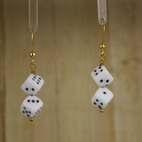 Bamboo Center View - Glass Dice on Gold Plate Earwires (1073)